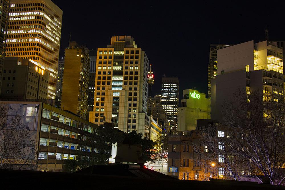 Udsigten fra mit hostel i Sydney