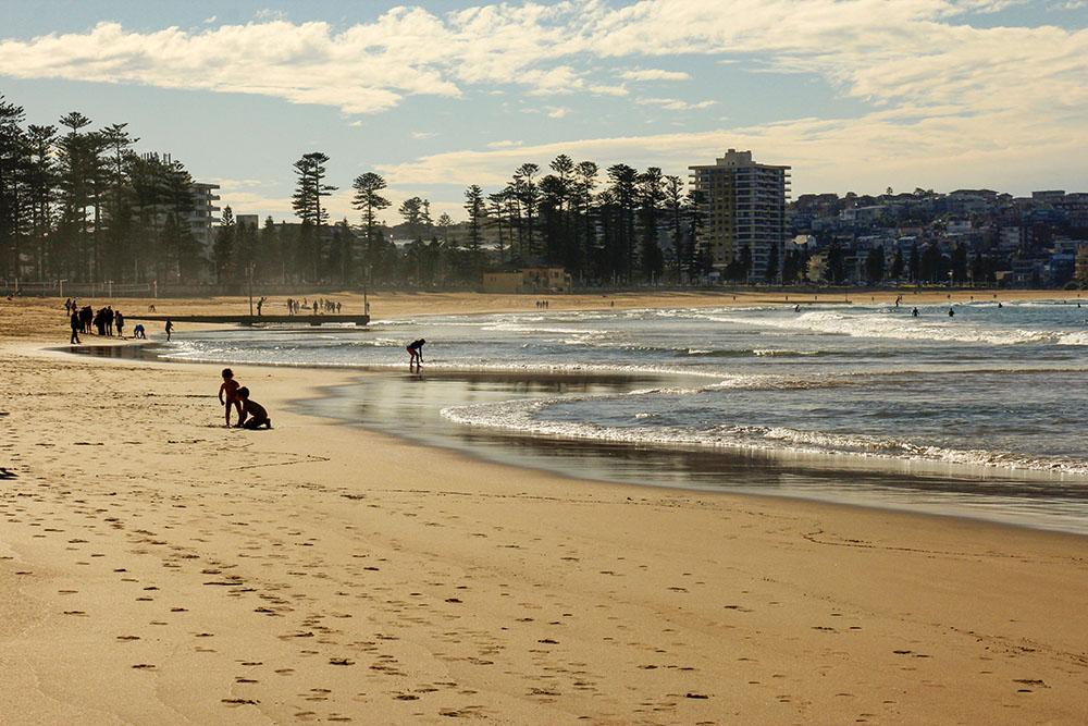 Manly beach på en kold vinterdag