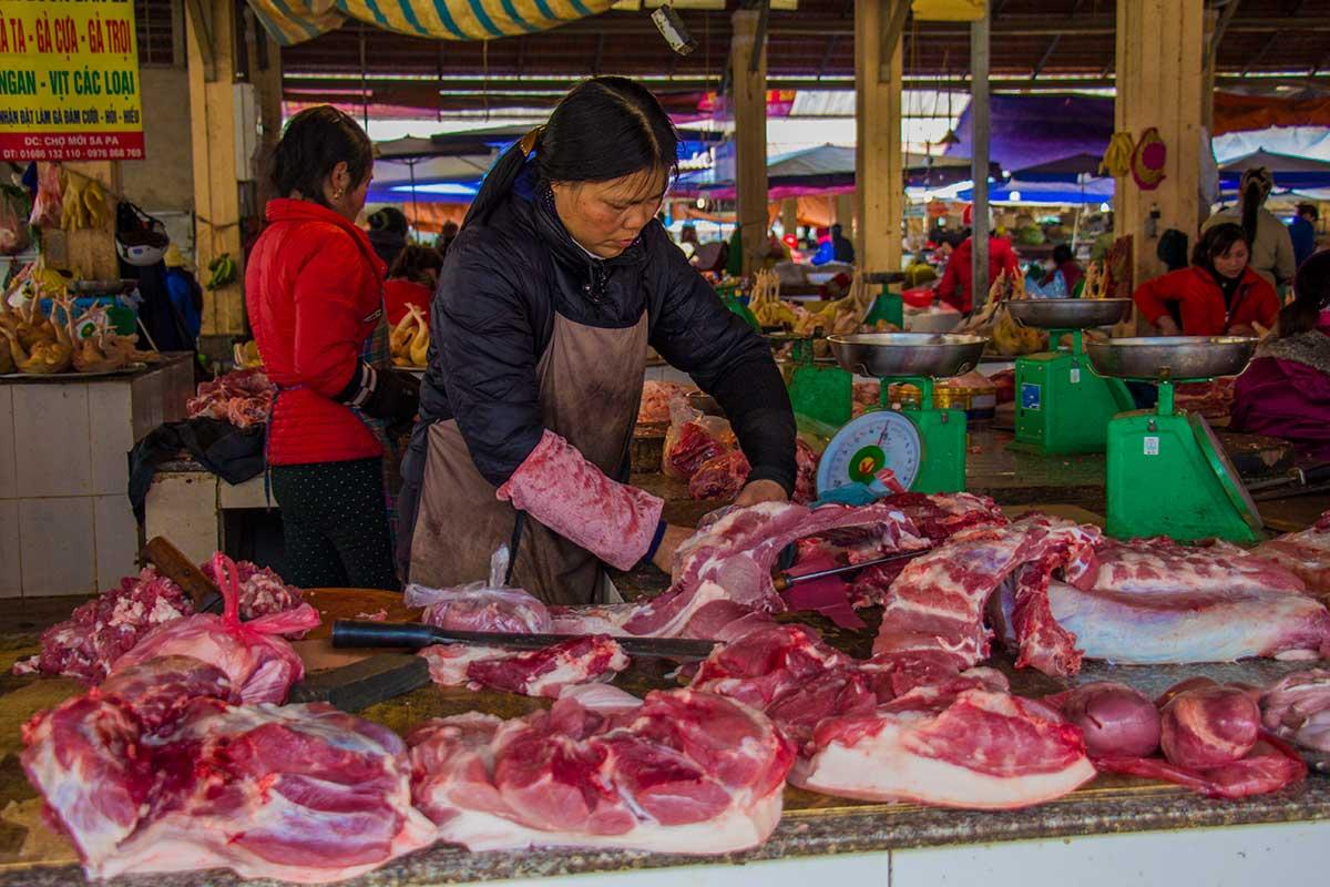 det lokale marked i Sapa Vietnam