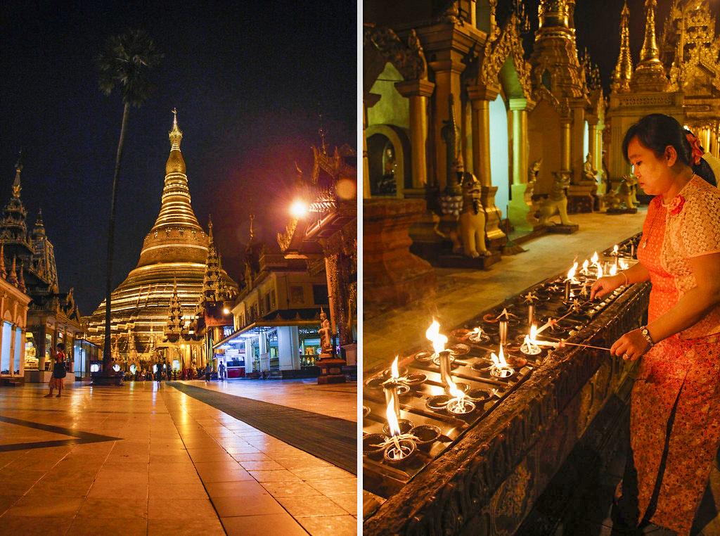 livet om aftenen ved Shwedagon Pagoden i Yangon