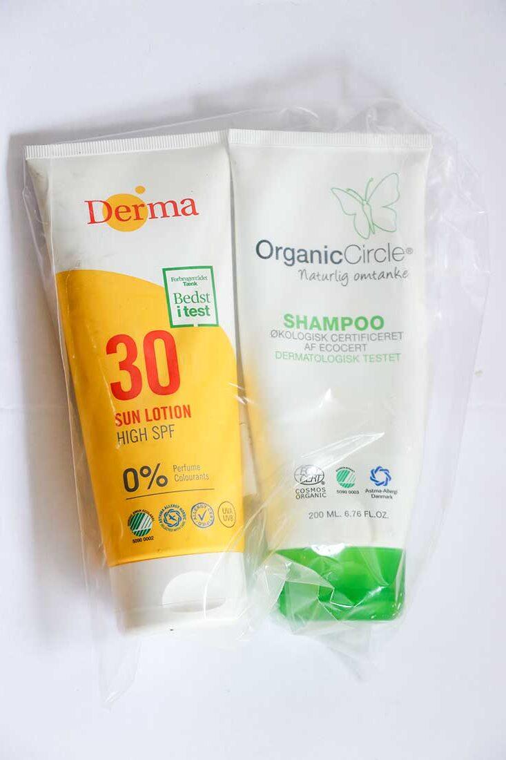 shampoo og solcreme