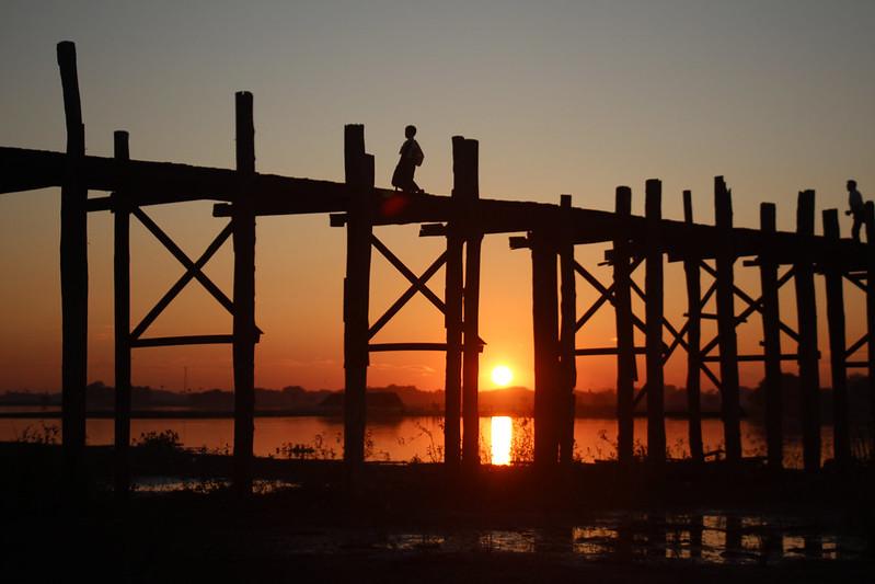 solnedgang i Myanmar